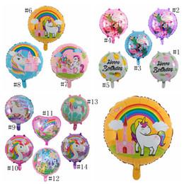 Balões decorativos de casamento on-line-14 cores 18 Polegada Abacaxi Balão Flamingo Bola Redonda De Alumínio Filme Unicórnio Flutter Circular Casamento Feliz Aniversário Festa Decorar MMA389