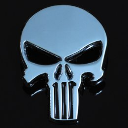 Wholesale motorbike stickers - New Silver 3D Zinc Alloy Metal Skull Car-Styling Stickers Cool Motorcycle Truck Badge Emblem Tail Decal Motorbike Accessories