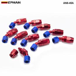 2019 revestimiento de gas EPMAN - 10pcs / set AN8 45 Degree de aluminio giratorio de aceite / combustible / aire / línea de gas manguera de montaje azul AN8-45A revestimiento de gas baratos