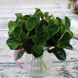 Wholesale Glue Pots Wholesale - Artificial Green Plants Silk Leaves PU Gluing DIY Potted Flowers Fake Plant Real Touch for Home Decor