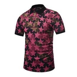 Wholesale mens red star t shirt - Mens Polo T Shirts 3D Stars Print Summer Tops Tees Short Sleeve Hip Hop T Shirts Brand Clothing New Fashion