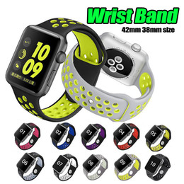 Wholesale iwatch wrist - 42mm 38mm Rubber Silicone Hole Loops Colorful Wrist Band for Apple Watch Strap Sports Bracelet for apple iwatch Series 1 2 3