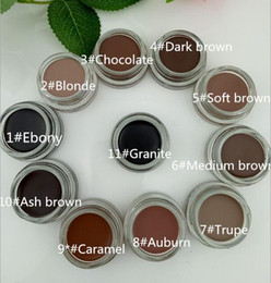 Wholesale eyebrow hot - HOT Medium Brown Waterproof Makeup Eyebrow Enhancers Pomade 4g Blonde Chocolate Dark Brown Ebony Auburn Soft Brown TALPE with Retail Box