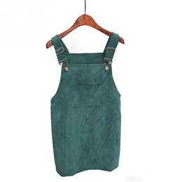 Corduroy Overall Skirt With Pocket Strap Shift Skirts 2018 Autumn Ladies  Sleeveless cute Short Skirt a7ccb99c8