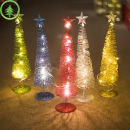 Metallo natale illuminato alberi online-2 PCS Albero di Natale incandescente Decorazioni di Natale in metallo Innovativi avvolgimento di luci Regali di Capodanno