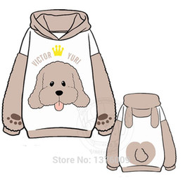 Wholesale Yuri Costume - Yuri On Ice Victor Nikiforov Marca qin Costume Lovely Soft Dog Hoody Pullover Japanese Anime Hoodies Plush Warm Doge S-XXL