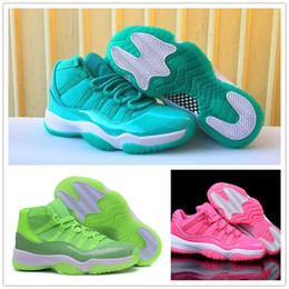 Wholesale Canvas Aqua - 2018 New Women Basketball Shoes 11 Space Jam Sneakers high quality Rainbow aqua pink Lime Green Sports training shoes