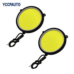 Wholesale daytime running lights round - Car DRL Daytime Running Light Flexible Round Shape White LED Lights Driving lamp COB Lights car-styling 2PCS 12V DC 90mm