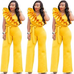 00c00fc924b 2019 Latest Yellow Ruffles Shoulders Fashion Women Jumpsuits for Party Sash  Cap Sleeves Real Image Elegant Wide Leg Pants Outfits