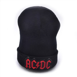 AC DC logo Wool Beanies 6 colors Knit Men s Winter Hats For Men Women  Beanie Warm Baggy Outdoor Sports Hat ba70721b69c0