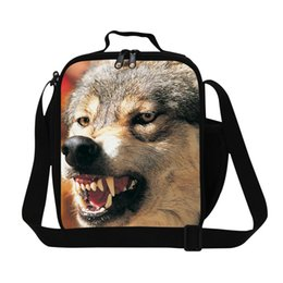 Wholesale Insulated Lunch Bag Black - Children Cool Wolf Print Kids Cooler Lunch Bag Bolsa Lancheira Thermal Bag Animal Small Portable Insulated Picnic Lunch Box