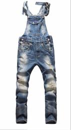 Mais tamanho malha de hip hop on-line-Calças macacões estilo americano europeu moda masculina hip hop magro macacão jeans rasgado plus size jeans macacão