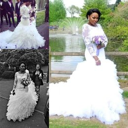 Wholesale plus size petite wedding dresses - Plus Size African Wedding Dresses Lace Appliques Sheer Long Sleeves Mermaid Puffy Tulle Bridal Gowns Vestidos De Noiva
