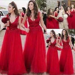 Wholesale deep blue lace bridesmaid dresses - 2018 Deep V-Neck Bridesmaid Dresses Lace With Applique Sleeveless A-Line Prom Dresses With Sequins Charming Evening Dress