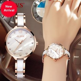 Wholesale Imported Roses - OLEVS Ceramic Dress Women Watch Luxury Rose Gold Ladies Wristwatches Japan Imports Quartz Movement Watches Relogio Feminino new
