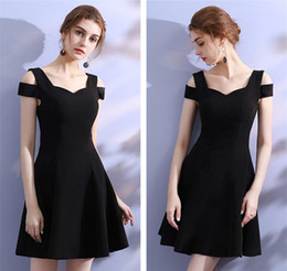 Wholesale Hot Model T Shirt - 2018 Little Black Short Cocktail Party Dresses Stylish Off Traps Satin Ladies Formal Evening Gowns Cheap Hottest
