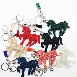 Wholesale Man Yellow Diamond Ring - Crystal Unicorn Keychain Diamond Unicorn Horse tassel Key Chain Carabiner Key Ring Bag Hangs Fashion Jewelry for Women 340004