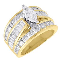 Wholesale Ladies Gold Diamond Ring - Diamond Solitaire Engagement Ring Ladies 14K Yellow Gold Marquise Design 3 Tcw.