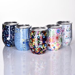 Wholesale Glass Art Fusing - Floral Printed Swig Wine Glasses 2018 new 9oz stainless steel Tumblers Wine Tumblers Water Bottle beer cocktail cups with lids