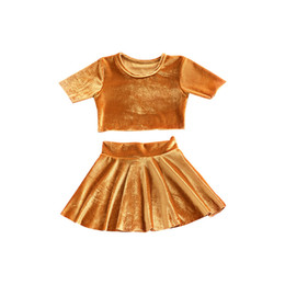 Wholesale Girls Skirt Shorts - Baby Gold velvet outfits 2018 new girls top+skirts 2pcs set INS kids Clothing Sets C3513