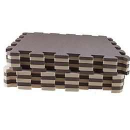 HGHO-10 Parça Eva Köpük Bulmaca Egzersiz Mat Kilitli Yer Karoları Kahverengi + bej cheap puzzle foam floor mat nereden bulmaca köpük paspas tedarikçiler