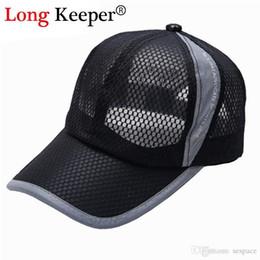 Venta al por mayor- Gorras sólidas de los hombres de Keeper largo Cartas de  malla de verano Gorras de béisbol fuera de Sun Cap Leisure HAT Chapeu Negro  ... 679b01f5016