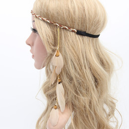 feathers hair style Promo Codes - The European and American original handwoven Korean plume feather hair band, the Indian style hair band head belt wholesale