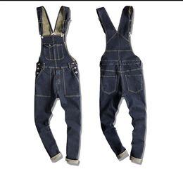 41ec890516c6 Japanese Style Mens Casual Denim Bib Overall Long Suspender Pants Spring  Autumn Jeans Jumpsuit For Men Women Work Overalls