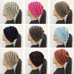 Wholesale Hole Warmer - 14 Colors Women CC Confetti Print Ponytail Caps CC Knitted Beanie Fashion Winter Warm Hat Back Hole Pony Tail Casual Cap
