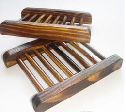 Accesorios de soporte de madera online-Bandeja del jabón del baño del estilo del vintage Caja de madera hecha a mano del plato Jaboneras de madera como accesorios del hogar del sostenedor Accesorios del cuarto de baño
