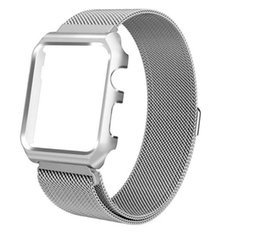 Sangle milanaise iwatch en Ligne-Bracelet monobloc en acier inoxydable Epacket Milanese + housse pour Apple Watch Series 1 2 3 iWatch 38mm / 42mm