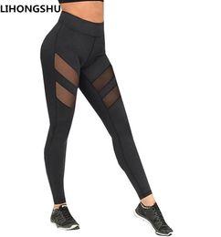 Wholesale Wholesale Pants For Women - factory outlet 2017 Athleisure leggings for women mesh splice fitness leggins slim black legging pants plus size Free shipping