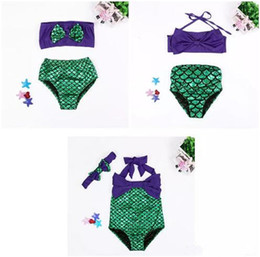 Wholesale Two Pieces Swimsuits - Girls Swimsuit Mermaid Tails Bikini Bottoms Fish Scale Bowknot One-piece Two-piece Suit Kids Bikini Dress Children Costume B11