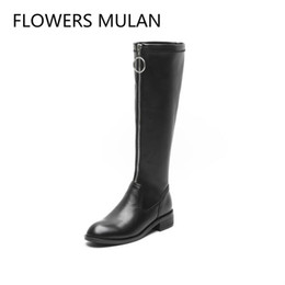 low heel long boots Promo Codes - Luxury Black Real Leather Women Long Boots Shoes Knee High Round Toe Low Chunky Heel Ladies Motorcycle Botas Front Zip With Ring