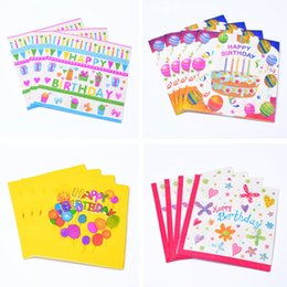 Wholesale Colorful Tissue - Colorful Cartoon Paper Napkins Kids Children Baby Shower Paper Napkins Decoration Tissues Birthday Event Party Supplies