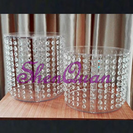 Wholesale Crystal Cake Stand Set - Indoor christmas decoration christmas item type and acrylic material crystal silver plated wedding cake stand,2pcs set cake display