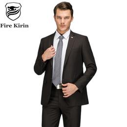 Wholesale Elegant Black Suits For Men - Fire Kirin Black Mens Striped Suit Slim Fit Wedding Suits For Men High Quality Business Formal Suits Elegant Two Piece Set Q102