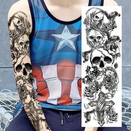 Wholesale Tattoo Skulls - 48*17cm Full Arm Temporary Tattoo Sticker Waterproof Long Lasting Clear Tatto Skull Dragon Devil Monster Big Tatoo Beauty Gift