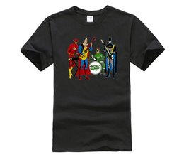 Wholesale custom made band - Custom Made T Shirts Justice League Band T-shirt Brand Clothing Men 100% Cotton Rock Hip Hop Tshirt Homme Short Sleeve Top Tees