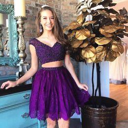 Canada 2 Pièces Violet Robe De Soirée V Cou Cou Manche Brillant Perlée Corsage Dentelle Robes De Fête Filles Robe De Bal Courte robe robe personnalisée Taille Personnalisée Offre