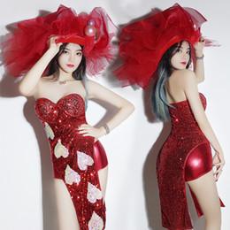 costumi da ballo palo Sconti Jazz Dance Costumes Red Sequin Body Nightclub Dj Ds Gogo Pole Dance Tuta Cantanti Stage Performance Abbigliamento DNV10380