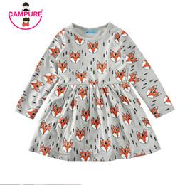 e7ca7f50f24 New 2017 Autumn Summer Girls dress 80-120 cm Fox Cartoon Toddler Baby Girl Dress  Children Clothing Children Dress Kids Clothes