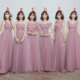 Wholesale Bridesmaid Blue - 2018 Maxi Style Soft Tulle Bridesmaid Dresses A Line Floor Length Lace Up Back Maid Of Honor Wedding Guest Gown For Garden Beach Chi Wedding