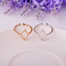 Wholesale Rhombus Ring - 2017 new 925 two colors personality creative simple simple rhombus high quality retro style adjustable ring CR152