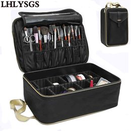 Wholesale Nail Art Tattoos - LHLYSGS Brand Suitcase Three-Layer Cosmetic Box Bag Women Beauty Professional Cosmetic Case For MakeUp Tattoos Nail Art Tool Bin
