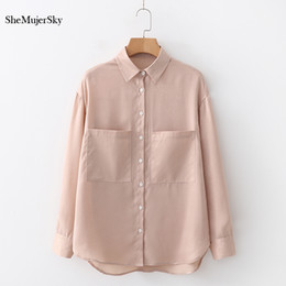 e82fff1339 SheMujerSky Autumn Long Sleeve Shirts Women 2018 Turn-down Collar Blouses  WIth Pockets Buttons Solid Tops blusa discount button down shirt pockets