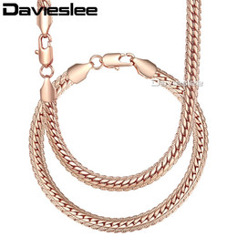 Ожерелье из белого золота онлайн-Davieslee Womens Necklace Bracelet Set Curb Cuban Link White Rose Yellow Gold Filled Chain 6mm LGS271A