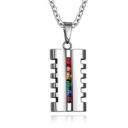 Les cristal on-line-Ordem mista Marca de moda de nova acessórios de aço inoxidável lésbica colar rainbow Les gay cristal faggotry colares com correntes 010