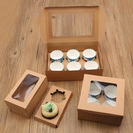 Paquetes de papel marrón online-Cajas de pastel de papel de la tarjeta Kraft 7 tamaños Elija los sostenedores de postre de muffin plegable Brown Muchos tamaños Paquete de caja de pastel 3 2ms7 ZB