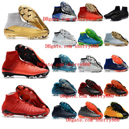 Wholesale Kids Lace Boots - 2018 new arrival mens soccer cleats Mercurial Superfly cr7 kids soccer shoes Hypervenom Phantom boys football boots youth magista obra cheap